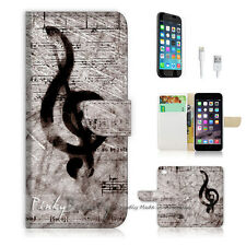 "iPhone 6 Plus (5.5"") Print Flip Wallet Case Cover! Music Sign P0142"