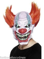 Halloween Evil Clown IT Horror Mask Circus of Death Red &Orange Hair Fancy Dress