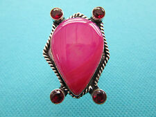 925 Silver Ring With Natural Pink Lace Onyx And Garnet Size Q  US 8.25  (rg1306)