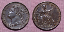 1822 KING GEORGE IV COPPER FARTHING - Nice Grade Coin