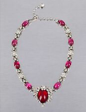 VTG 40s 50s JOMAZ SILVER PINK RUBY CABOCHON RHINESTONE FLORAL NECKLACE