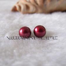 7.0-7.5mm Dark Red Freshwater Pearl Stud Earrings Post U