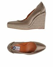 NIB LANVIN Satin  Espadrille Wedges Pump Natural Olive Women Shoes Sz38 $595