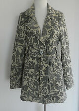 New Arden B Coat  Grey/Beige Tone Brocade High Waist Size S Belted