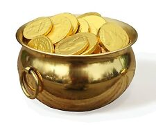 Real Pot of Gold Golden Brass Metal Cauldron St. Patrick's Day Leprechaun trap