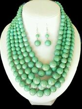Turquoise Bead Necklace Chunky Multi Layered Long Strand Silver Earrings Set New