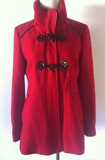 GUESS Los Angeles Womens Red Wool Blend Toggle Button/Zip Peacoat Jacket Size PM