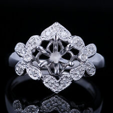 10K White Gold 6.5mm Round Semi Mount Diamond Jewelry Women Engagement Fine Ring