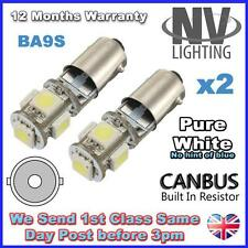 2 x 5 SMD LED WHITE CANBUS ERROR FREE SIDELIGHT BULBS T4W BA9S BAYONET 5050