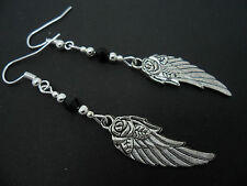 A PAIR OF  TIBETAN SILVER WING FEATHER FLOWER & BLACK CRYSTAL  EARRINGS. NEW.