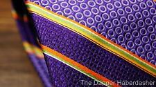 ROBERT TALBOTT BEST OF CLASS Silk Neck Tie Purple Orange Green Stripes BRIGHT