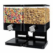 Cereal Dispenser Storage Double Dry Food Snack Container Kitchen Canister Black