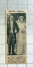 1939 Heaton Wedding For Mr Alan Anderson, Newcastle And Miss Margaret Thackray