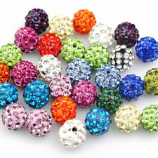 Lots 100Pcs Mixed Czech Crystal Glass Pave Clay Disco Ball Space Loose Bead 10MM