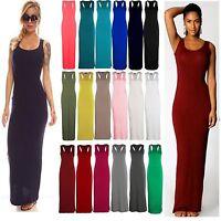 Lz06 Women Sleeveless Maxi Summer Dress Vest Racer Muscle Back Maxi Long Jersey