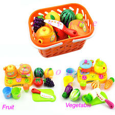 1 Set Kids Baby Gift Kitchen Food Play Toy Cutting Vegetable Fruit New