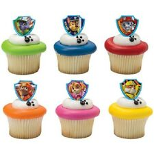 12 Paw Patrol Ruff Rescue Cake Cupcake Pop Rings Birthday Party Toppers Favors