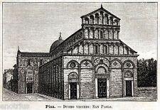 Pisa: Chiesa di San Paolo a Ripa d'Arno. Stampa Antica + Passepartout. 1891