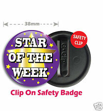 10 x Star of the Week School Teacher Reward Safety Clip Badges 38mm PURPLE