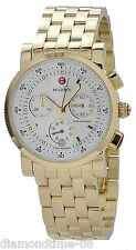 NEW MICHELE SPORT SAIL GOLD-TONE WHITE DIAL LADIES WATCH MWW01C000106