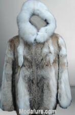 Men's New Coyote Fur Coat Jacket with HOOD & Fox