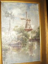 Antique Oil Painting on Board of Dutch Canal Windmill Signed