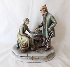Origl Vtg Antonio Borsato Italy Figurine Old Man Buying Chestnuts from Old Woman