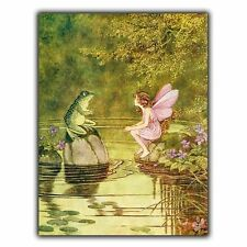 FAIRY & FROG TOAD METAL SIGN WALL PLAQUE nursery kids childrens playroom bedroom