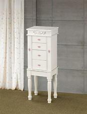 """MATTE WHITE JEWELRY BOX ARMOIRE WITH PINK ROSETTE HARDWARE 35""""H"""