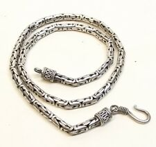 "Vtg Sterling Silver Bali Byzantine Chain Necklace 17.75"" Round 3.5mm S Hook 43g"