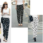 Fashion Womens Chiffon Printed Loose Harem Pencil Pants Casual Trousers