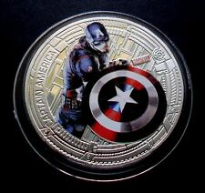 "NEW ZEALAND 2015 SILVER PLATE MARVEL THE AVENGERS ""CAPTAIN AMERICA"" COIN"