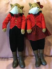 Fox Hunt Pair of Huntsman and Huntswoman Stuffed Animal Doll Large