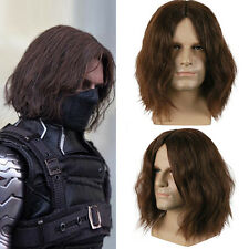 US SHIP!The Avengers Cosplay Costume Winter Soldier Bucky Barnes Brown Wig