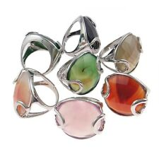 Wholesale Bulk Lot 6 Adjustable Silver Tone Agate Stone with Overlay Rings