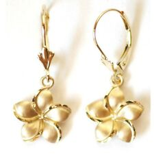 "14K Solid Yellow Gold Plumeria Earring W: 12 mm Length 29 mm (1-1/8"") E2523-70"
