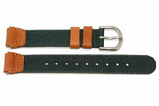 14MM GREEN BROWN NYLON LEATHER EXPEDITION FIELD WATCH BAND STRAP FITS SWISS ARMY