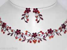 Silver Red Ruby Rhinestone Flower Bridal Party Necklace and Earrings Set
