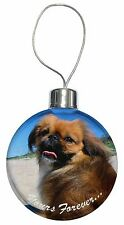 Pekingese 'Yours Forever' Christmas Tree Bauble Decoration Gift, AD-PE90yCB