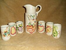 Japan Pitcher Plus 6 Matching Juice Glasses With A Fruit Motif