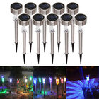 10Pcs Outdoor Garden Stainless Steel LED Solar Landscape Path Lights Yard Lamp