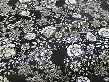 Black & Grey Gothic Flowers, Floral 100% Viscose Summer Printed Dress Fabric.