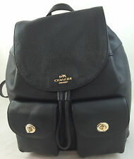 New Coach F37410 Billie Black Leather Backpack Handbag Purse Double Shoulder Bag
