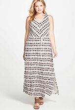 Lucky Brand NWT $99 Woman's Plus Size 3X V-Neck Maxi Natural Multi Color Dress