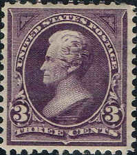 #268 1895 3 CENT JACKSON BUREAU ISSUE MINT-OG/H--VF/XF