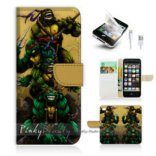 iPhone 5 5S Print Flip Wallet Case Cover! TNMT Ninja Turtle Cartoon P0088