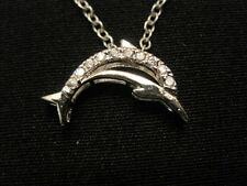 "925 Serling Silver Cubic Zirconia Dolphin Pendant Necklace 18"" ~ Weighs 4.2 Gram"