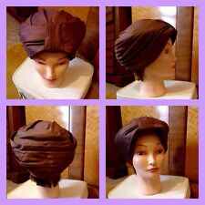 Vintage 50's 60's Bronze Chestnut Brown Turban Hat L Mod Carnaby Boho