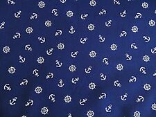 Navy Blue White Anchor  Poly Cotton Dress Fabric 112cm Wd