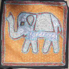 Indian embroidered sequin applique patchwork elephant picture wall hanging